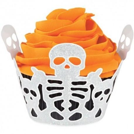 Wrappers cupcakes Esqueletos. 18 uds