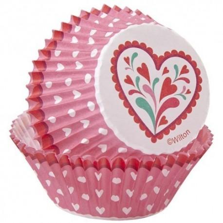 Cápsulas cupcakes corazones. 75 uds