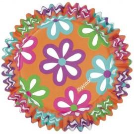 Cápsulas cupcakes Naranjas con flores. 36 uds