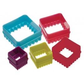 Cortadores dobles Cuadrado/Cuadrado festoneado colores. Set de 5