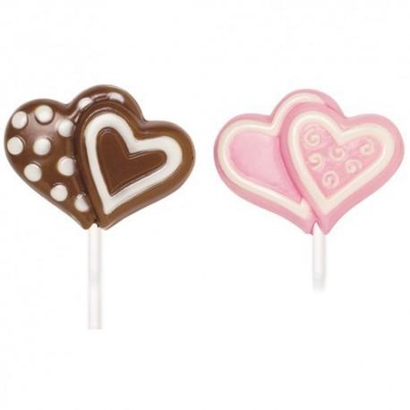 Molde Lollipop Corazones dobles