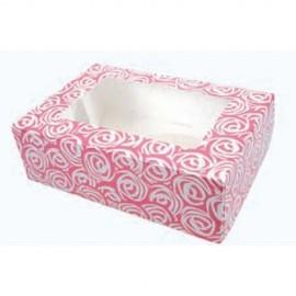 Caja Rosas para 6 cupcakes con inserto. Unidad