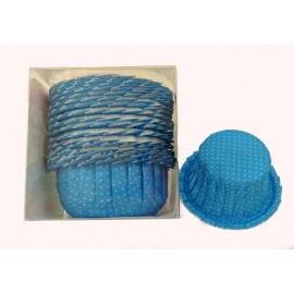 Cápsulas cupcakes azules con lunares y volantes. 20 uds