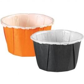 Cápsulas mini cupcakes Naranjas y Negras con volantes. 24 uds