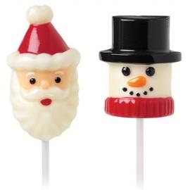 Molde Lollipop Papá Noel y Muñeco Nieve