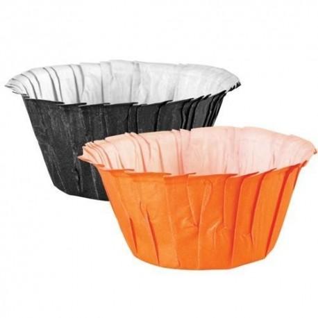 Cápsulas cupcakes Naranjas y Negras. 24 uds