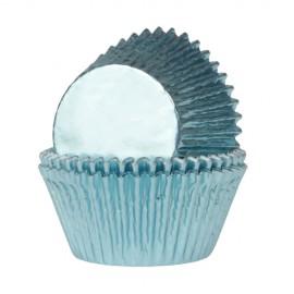 Cápsulas cupcakes Azul Bebe metalizado. 24 uds