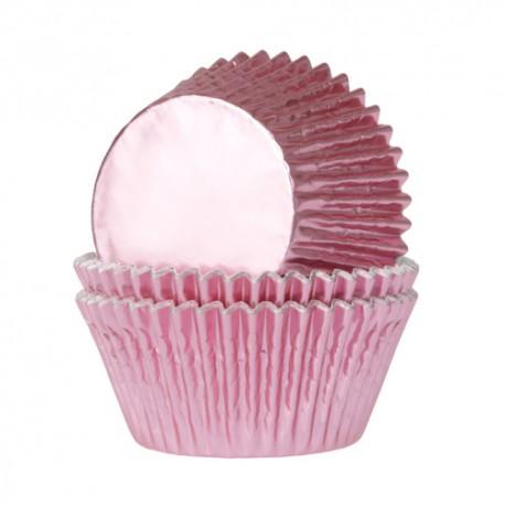 Cápsulas cupcakes Rosa Bebe metalizado. 24 uds
