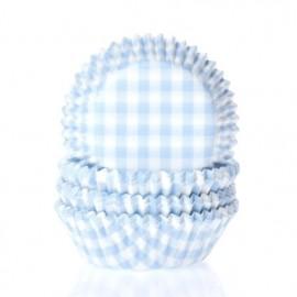 Cápsulas cupcakes Vichy Azul Bebe. 50 uds