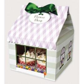 Cajas Flower shop para 4 cupcakes con inserto. Set de 3