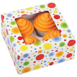 Caja Círculos para 4 cupcakes con inserto. Unidad