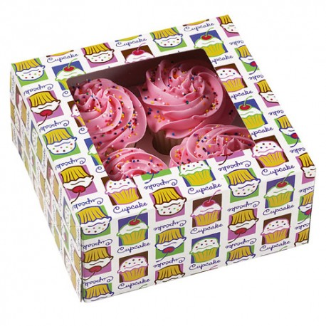 Caja Heaven Cupcake para 4 cupcakes con inserto. Unidad