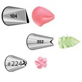 Kit de 3 boquillas Wilton: Petalo nº 104, Hoja nº 352, Flor nº 224