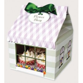 Caja Flower shop para 4 cupcakes con inserto. Unidad