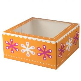 Caja Flores para 4 cupcakes con inserto. Unidad