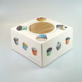 Caja Cupcakes para 4 cupcakes con inserto. Unidad