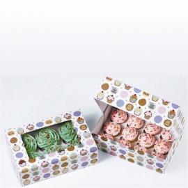 Cajas Be My Cupcake para 6 cupcakes con inserto. Set de 2
