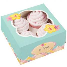 Caja Flor para 4 cupcakes con inserto