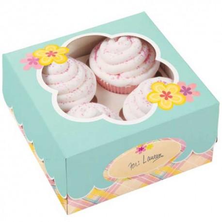 Caja Flor para 4 cupcakes con inserto. Unidad