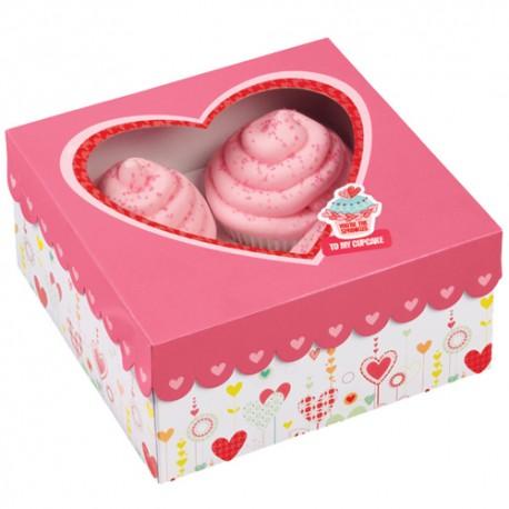 Caja Corazón para 4 cupcakes con inserto. Unidad