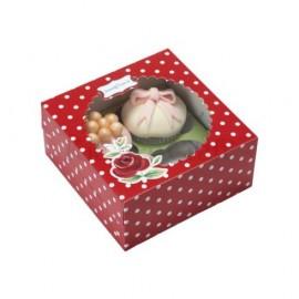 Cajas Rojas con Lunares para 4 cupcakes con inserto. Set de 2