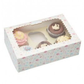 Caja Teteras para 6 cupcakes con inserto. Unidad