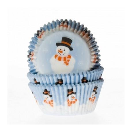 Cápsulas cupcakes Muñeco de nieve. 50 uds