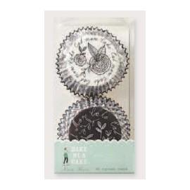 Cápsulas cupcakes Black&White flower. 48 uds