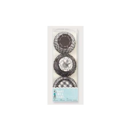 Cápsulas mini cupcakes Black&White flower. 96 uds