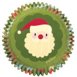Cápsulas cupcakes Papá Noel verdes. 75 uds