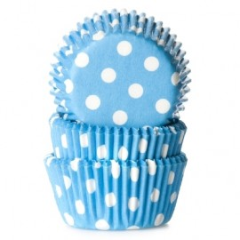 Cápsulas mini cupcakes Azules con lunares. 60 uds