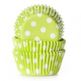 Cápsulas mini cupcakes Verdes con lunares. 60 uds