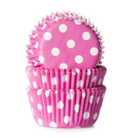 Cápsulas mini cupcakes Rosas con lunares. 60 uds