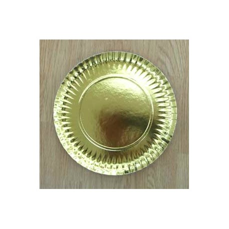 Plato redondo para tartas Oro 25 cm