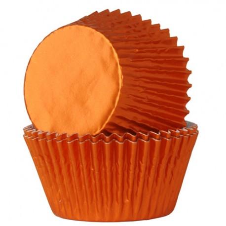 Cápsulas cupcakes Naranja metalizado. 24 uds