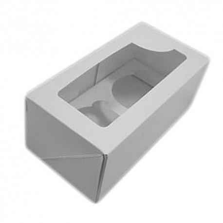 Caja blanca para 2 cupcakes con ventana. Unidad