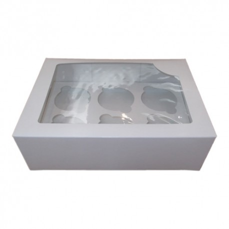 Caja blanca para 6 cupcakes con ventana. Unidad