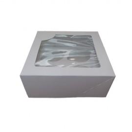 Caja blanca para 4 cupcakes con ventana. Unidad