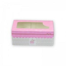 Caja para 2 cupcakes con ventana. Color Rosa. Unidad