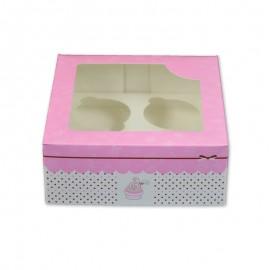 Caja para 4 cupcakes con ventana. Color rosa