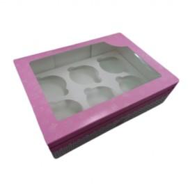 Caja para 6 cupcakes con ventana. Color rosa