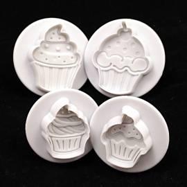 Cortadores Cupcakes con expulsor y marcador. Set de 4