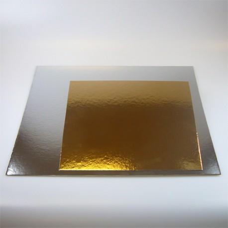 Base cuadrada para tartas Oro/Plata 20x20 cm