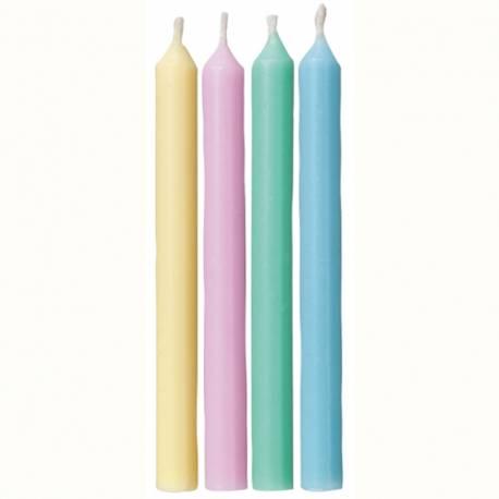 Velas colores pastel. 24 uds