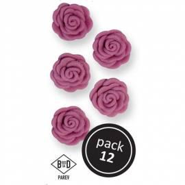 Rosas de azúcar. Color Lila. 12 uds