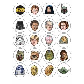 Impresion para 20 galletas Star Wars - Impresiones en papel comestible