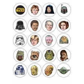 Impresion para 20 galletas Star Wars - Impresiones en papel comestible