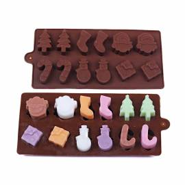 Molde figuras de Navidad para chocolate - Regalo - Muñeco Nieve - Bastón caramelo - Abeto
