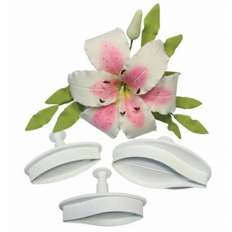 PME pétalo Lily cortador de émbolo, Blanco, large, Set 2
