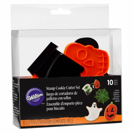 Wilton Set Cortadores Galletas con Sello Halloween, 10u.